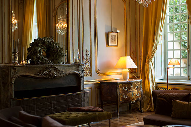 Luxury and elegant french living room. stock photo