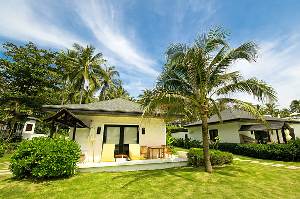 luxury and exotic villa in the tropics - hawaii home stock photos and pictures