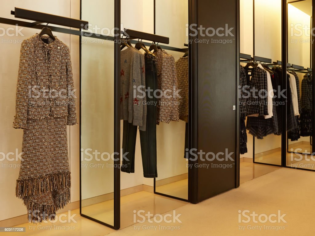 luxury and fashionable european different clothes shop.