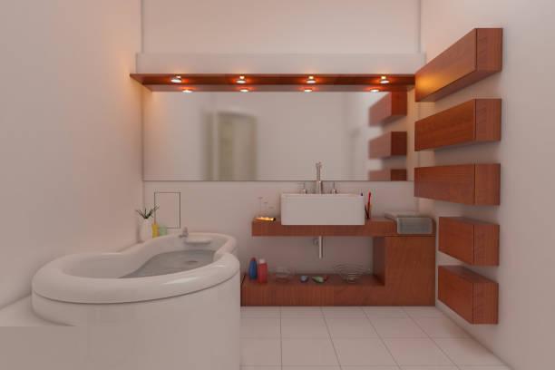 luxus und minimalistisch gestaltet badezimmer interieur - sanitäreinrichtung stock-fotos und bilder