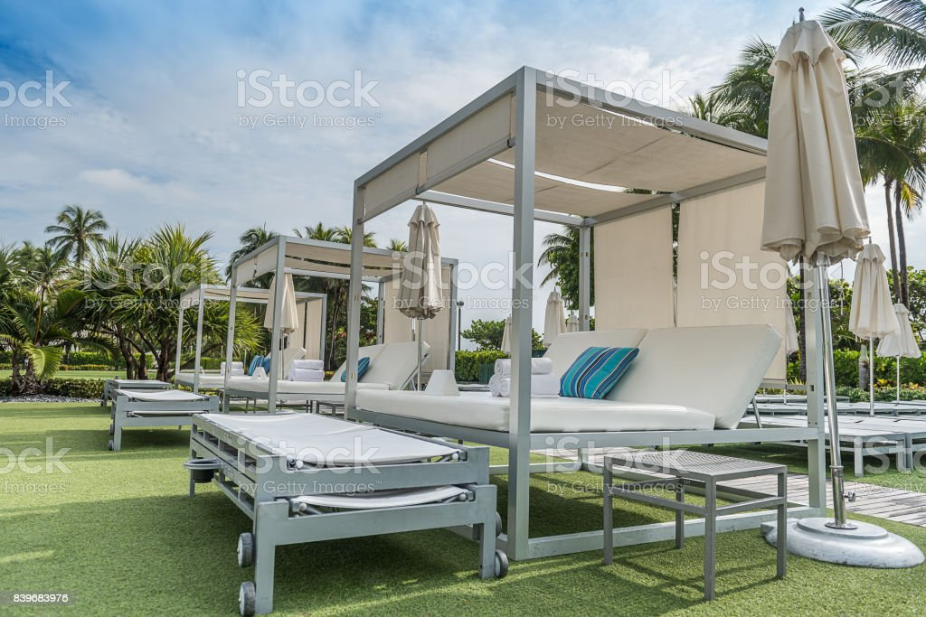 Luxury and relax by the beach stock photo