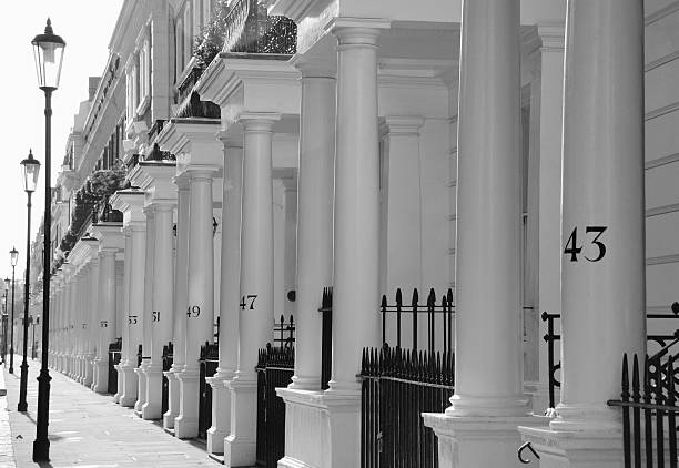 Luxury Apartment Building in London South Kensington, houses and streets stock photo
