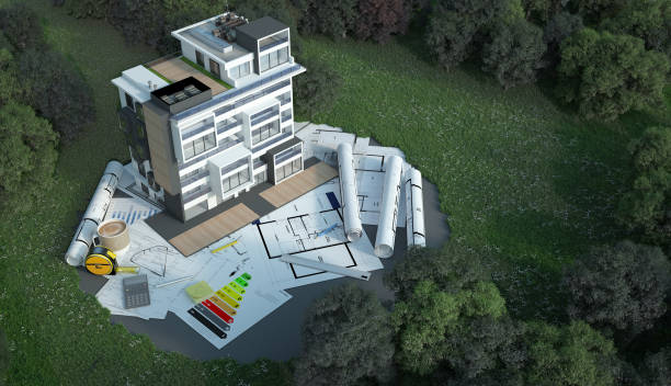 Luxury Apartment building project on site stock photo