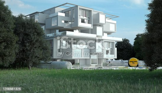 904490858 istock photo Luxury Apartment building project on site 1256661325