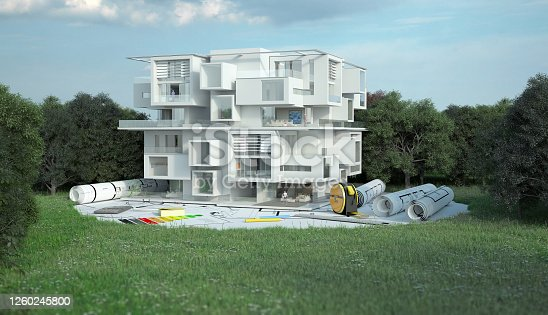 904490858 istock photo Luxury Apartment building project on site 1260245800
