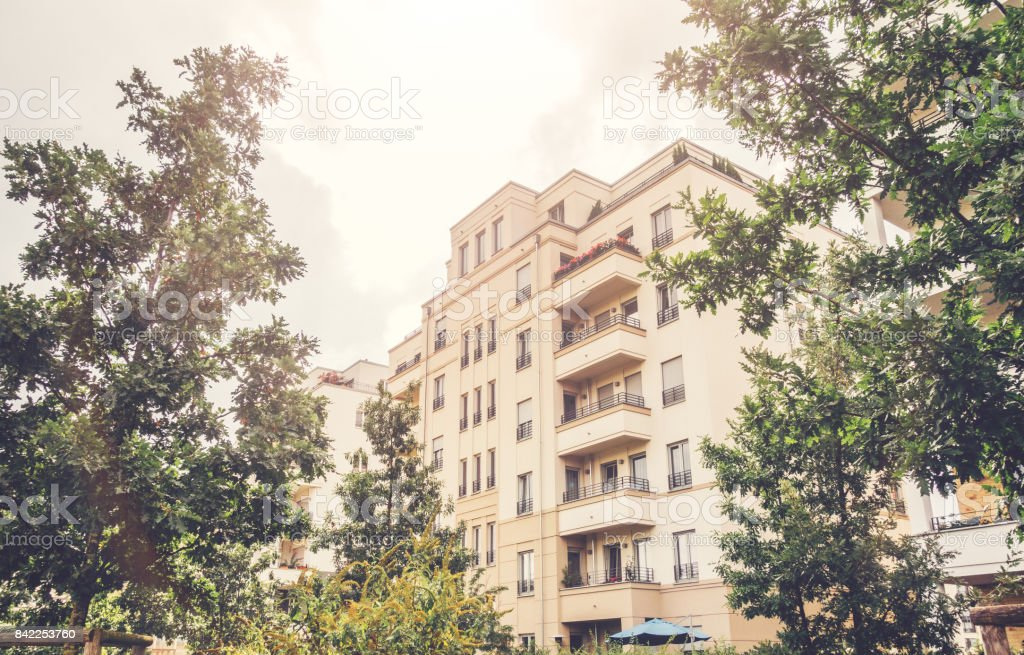 luxury apartment house in warm vintage colors stock photo