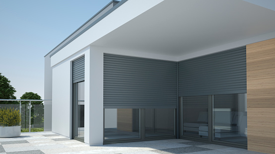 House with window and shutter roller - render 3d