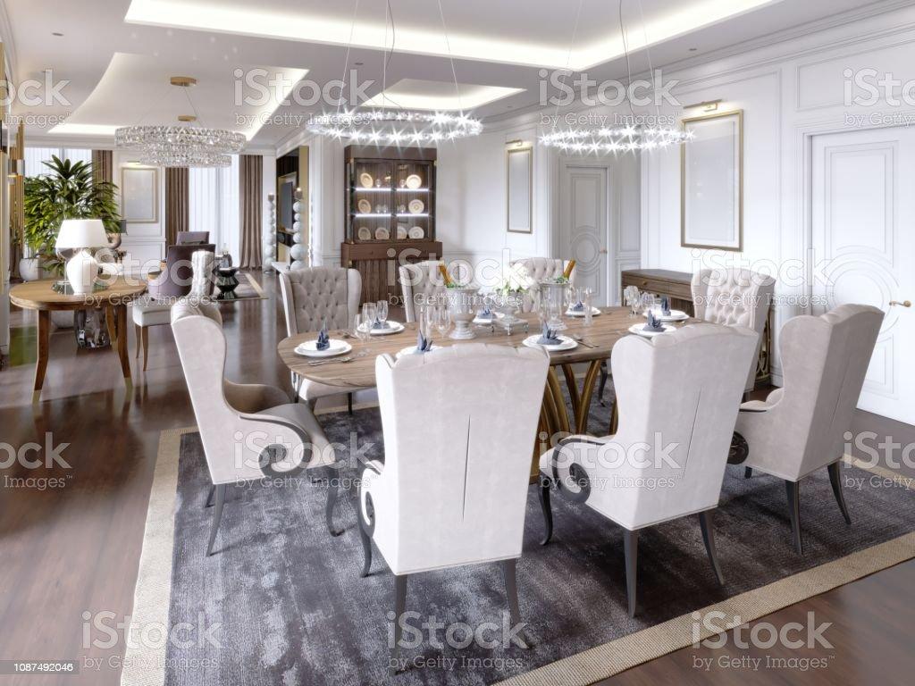 Salon Table À Manger photo libre de droit de appartements de luxe À lhôtel avec