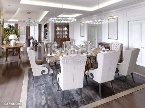 Luxury apartments in the hotel with a living room and dining room, sofa, bed, TV stand, dining table, classic interior with white walls. 3d rendering