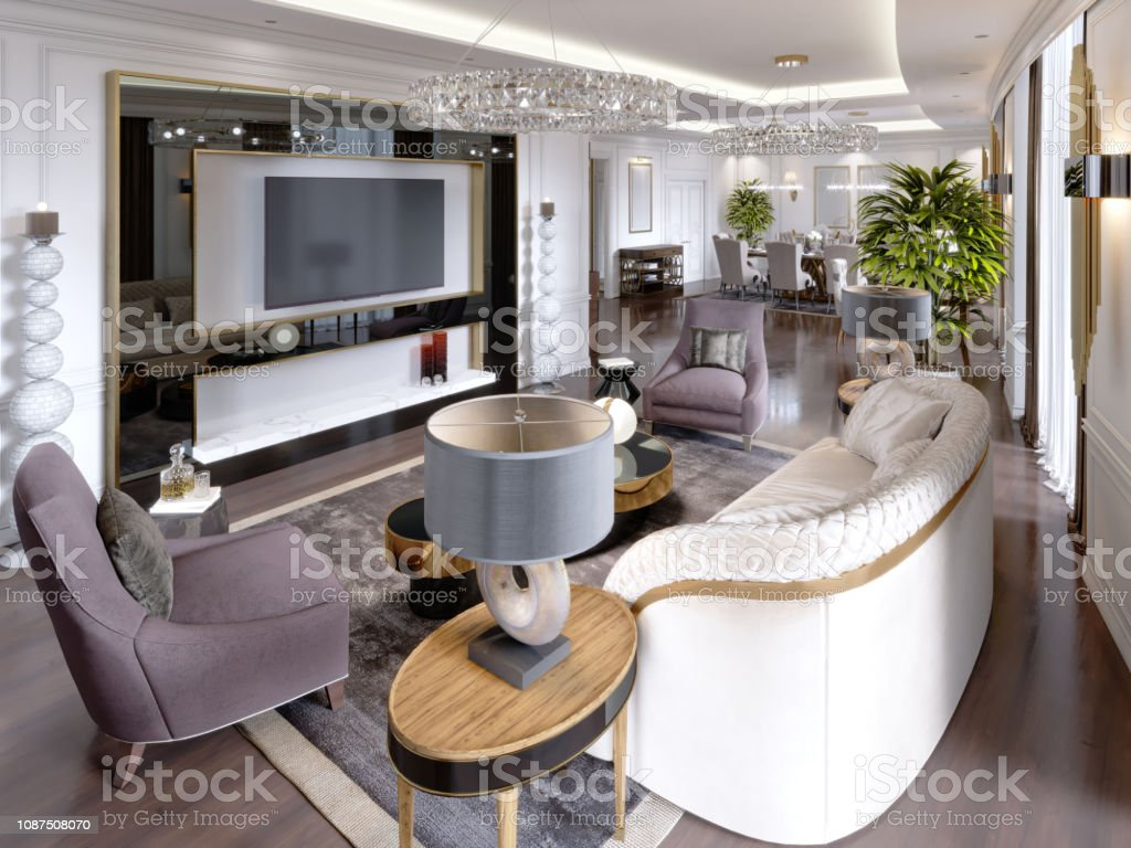 Luxury Apartments In The Hotel With A Living Room And Dining Room Sofa Bed Tv Stand Dining Table Classic Interior With White Walls Stock Photo Download Image Now Istock