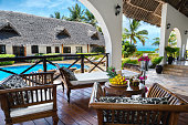 Luxury hotel with swimming pool and sea view in Zanzibar, Tanzania. Property released.