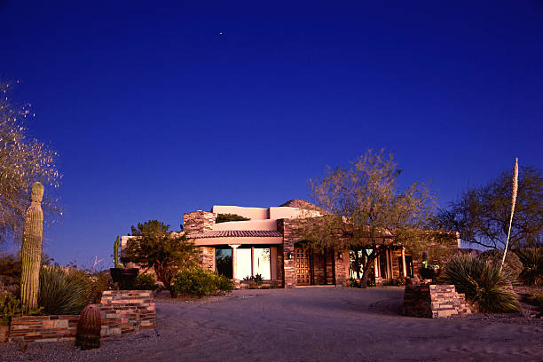 Luxury Arizona Southwest Home in Desert of North Scottsdale stock photo