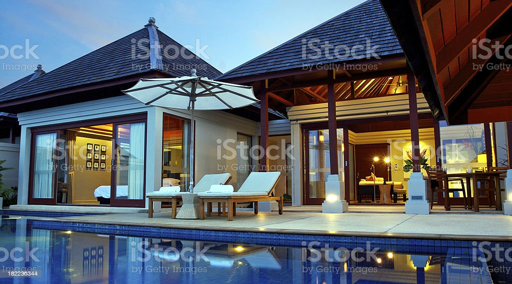 Luxury Asian Style Pool Villa stock photo