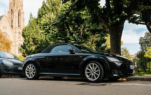 Luxury Audi TT sport car parked in city