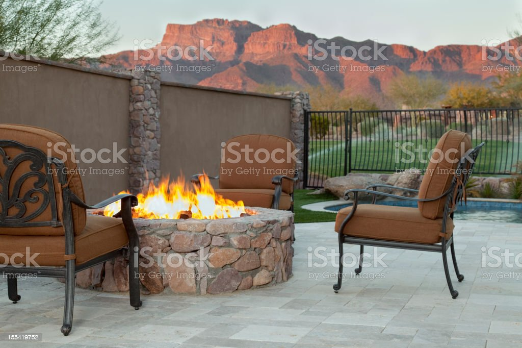 Luxury Backyard Fireplace stock photo