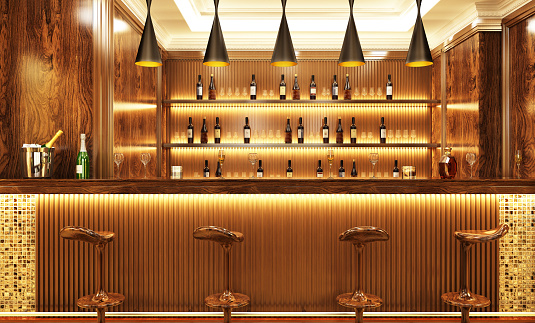 Luxury modern bar with drinks and bar stools