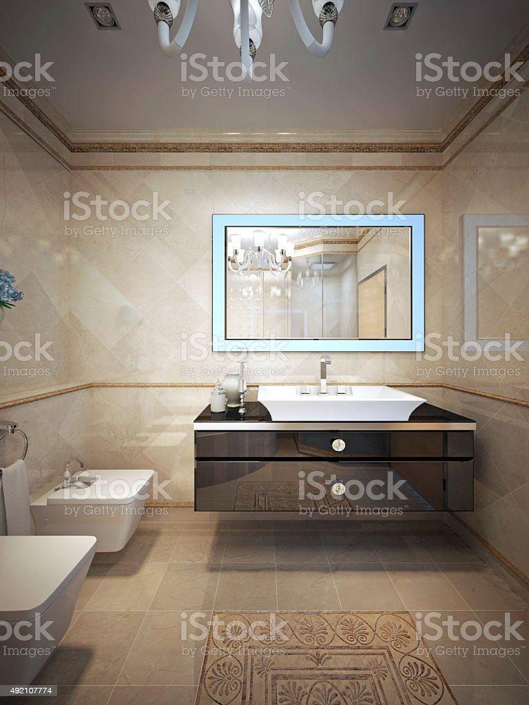 Luxury bathroom art deco style stock photo