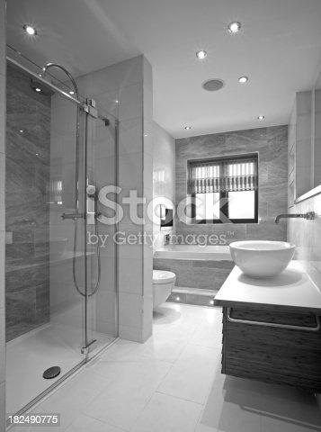 luxury white monochrome bathroom | Luxury Bathroom In Black And White Stock Photo & More ...
