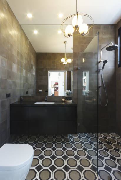 Luxury bathroom in contemporary new home extension in dark masculine tones
