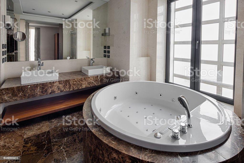 Luxury Bathroom Interior And Jacuzzi Style Bath Stock Photo & More ...