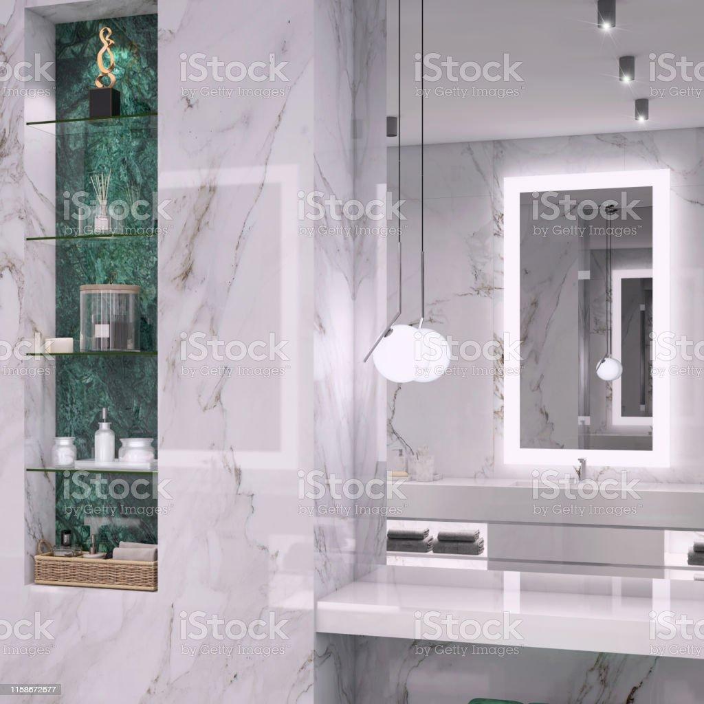 Luxuriöses Badezimmer Mit Glastür Stockfoto und mehr Bilder von Architektur