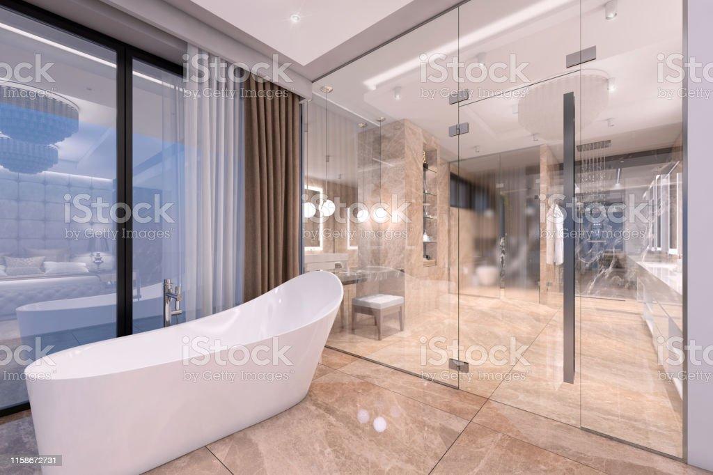Luxuriöses Badezimmer Mit Glastür Stockfoto und mehr Bilder ...