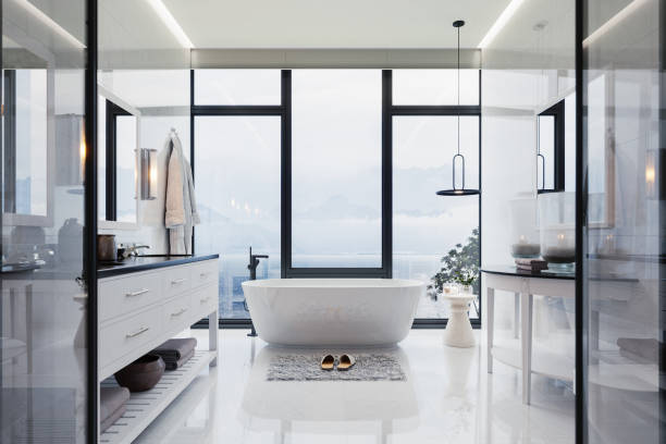 Luxury Bathroom Interior With hot tub And Beautiful Sea View stock photo