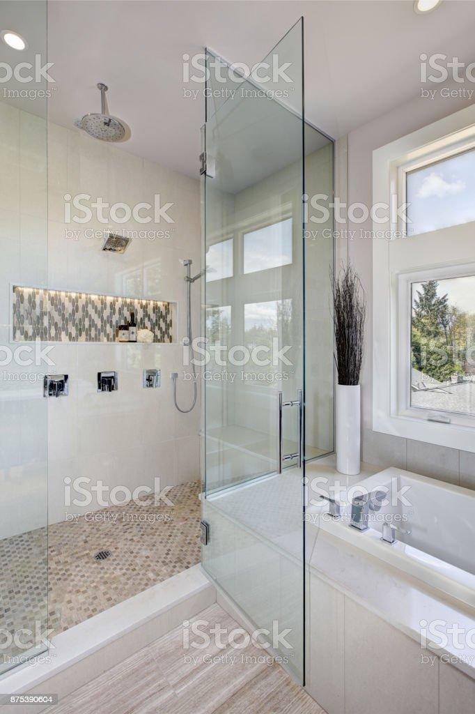 Luxury Large Walk In Showers.Luxury Bathroom Interior With Large Walkin Shower Stock