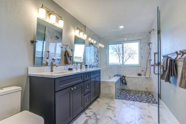 Luxury bathroom interior with Marble floor. stock photo