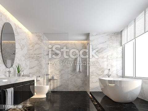 istock Luxury bathroom with black marble floor and white marble wall 3d render 1172894166