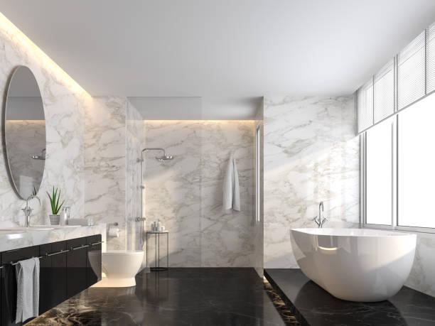 Luxuriöses Badezimmer mit schwarzem Marmorboden und weißer Marmorwand 3d Render – Foto