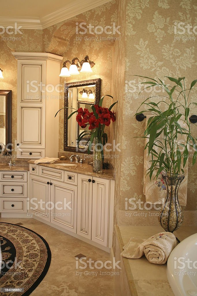 Luxury Bathroom with Flowers royalty-free stock photo