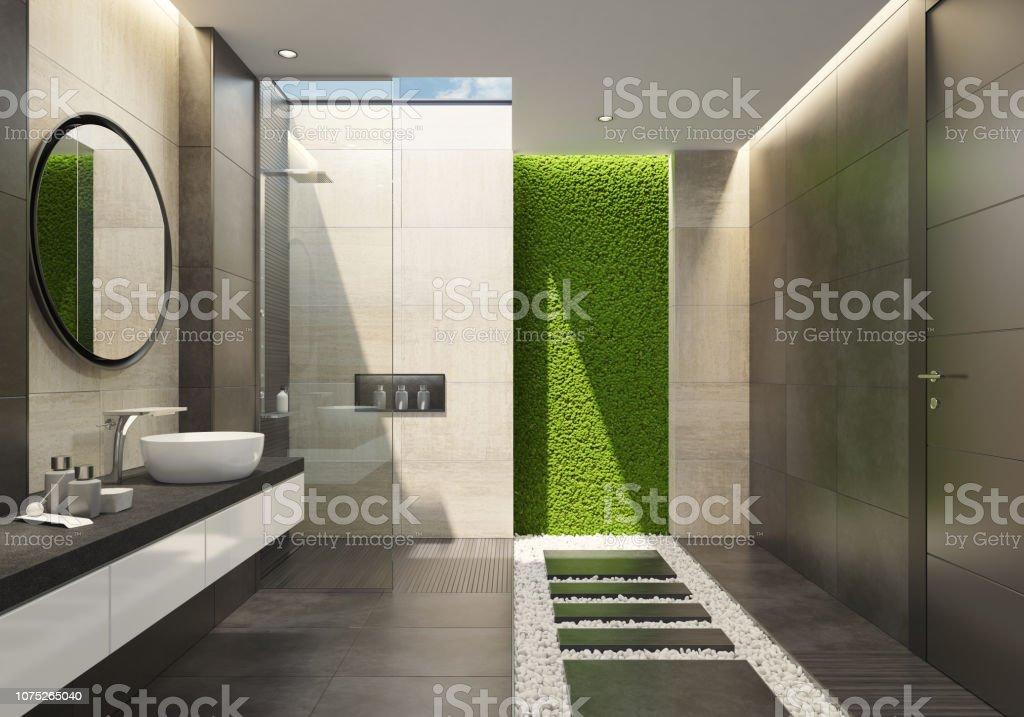 Luxusbadezimmer Mit Innovativen Grünes Moos Wand Und Ein ...
