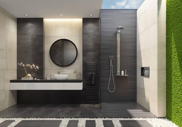 Luxus-Badezimmer mit innovativen grünes Moos Wand und ein Oberlicht – Foto