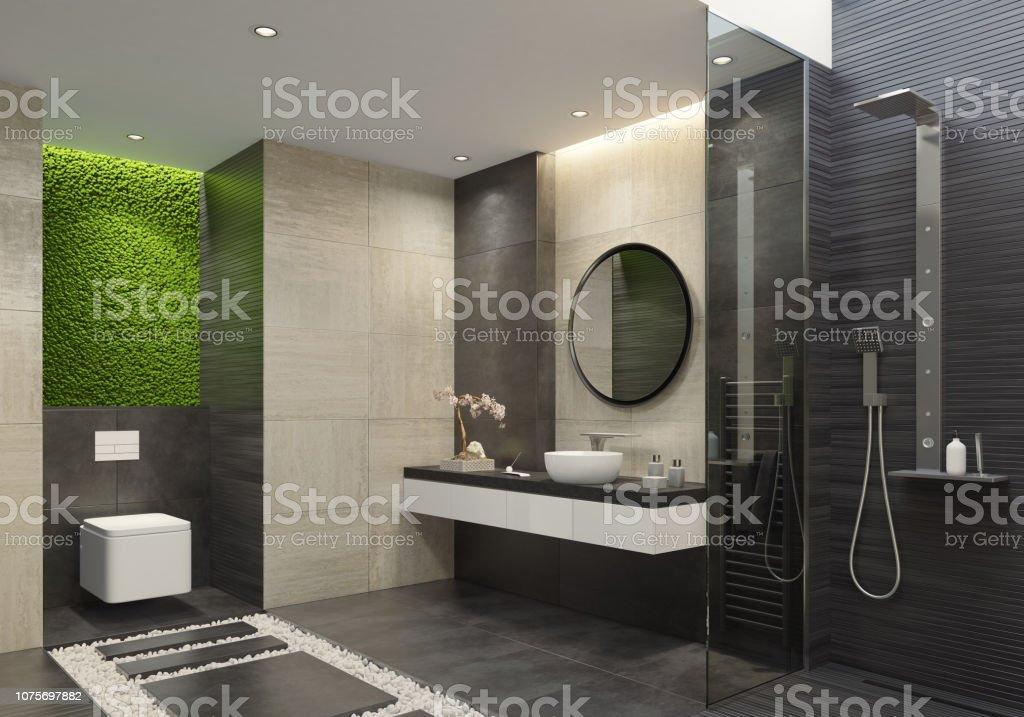 Luxusbadezimmer Mit Innovativen Grünes Moos Wand Stockfoto ...