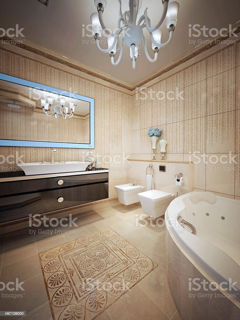 Luxury bathroom with jacuzzi stock photo