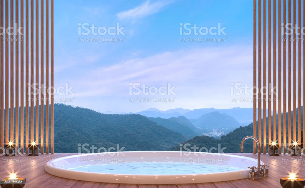 Luxury bathroom with mountain view 3d rendering image stock photo