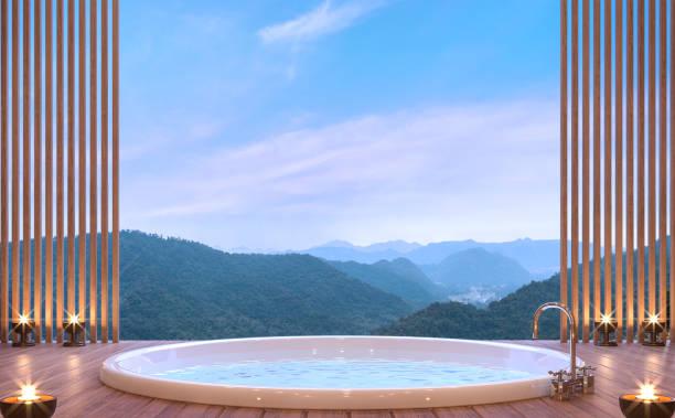 luxus-badezimmer mit blick auf die berge 3d-bild rendern - hotel in den bergen stock-fotos und bilder
