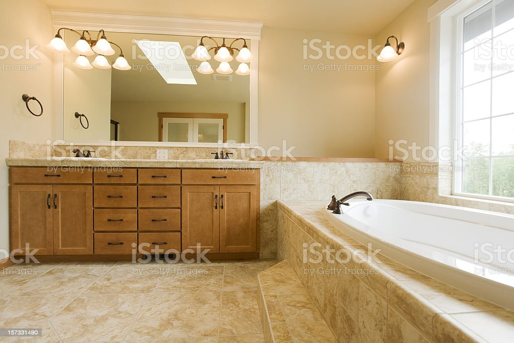 Luxury bathroom with spa tub royalty-free stock photo