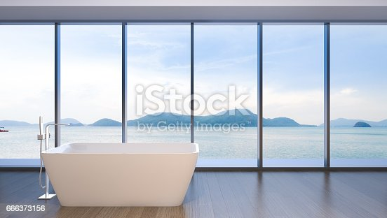 istock Luxury bathroom with view of sea , 3d rendering 666373156