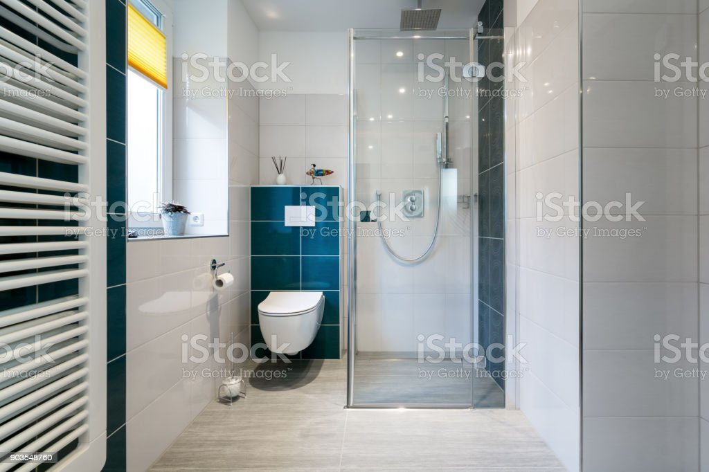 Luxury Bathroom with walk in Glass Shower - Horizontal shot of a luxury bathroom with large, walk-in shower. stock photo