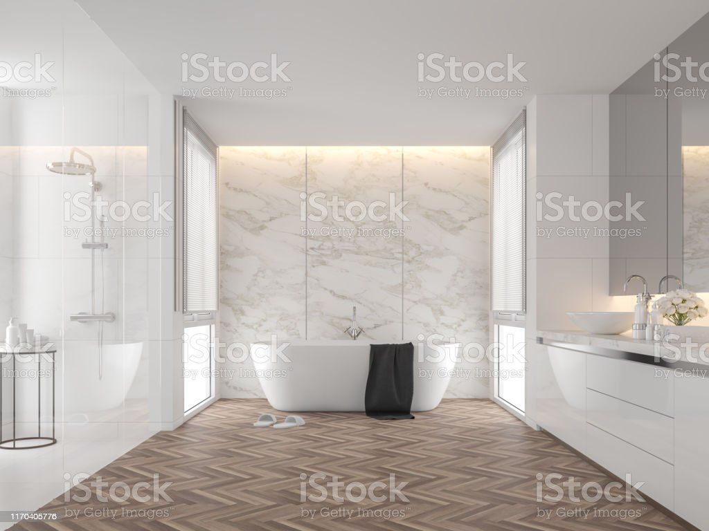 Luxury bathroom with white marble backdrop walls 3d render Luxury bathroom with white marble backdrop walls 3d render,The room has wooden floors, white tile walls, There are large windows natural light shining into the room. Apartment Stock Photo