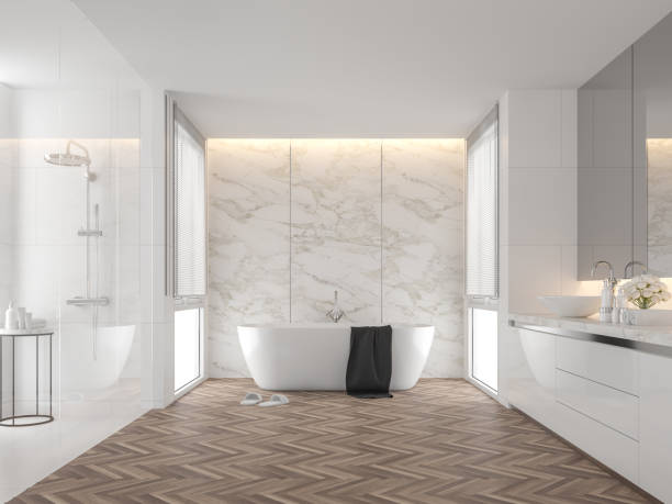 Luxury bathroom with white marble backdrop walls 3d render stock photo