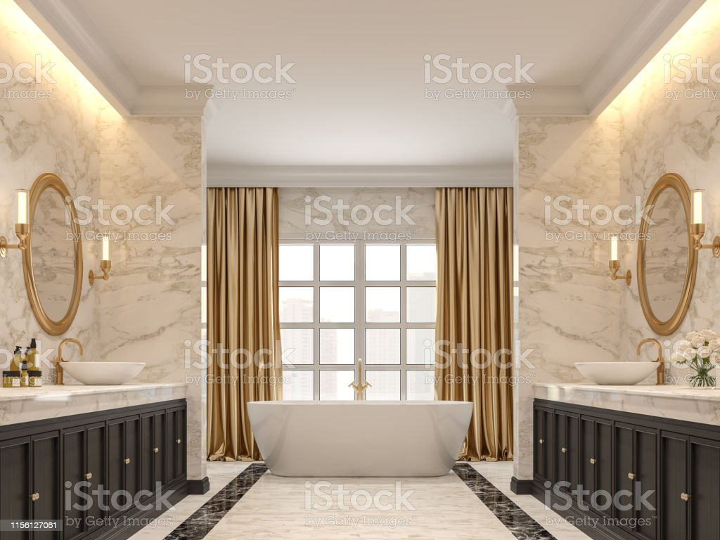 Luxury Bathroom With White Marble Walls And Floors 3d Render Stock Photo Download Image Now Istock