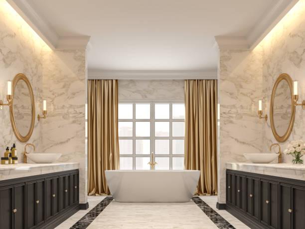 Luxuriöses Badezimmer mit weißen Marmorwänden und Böden 3d Render – Foto