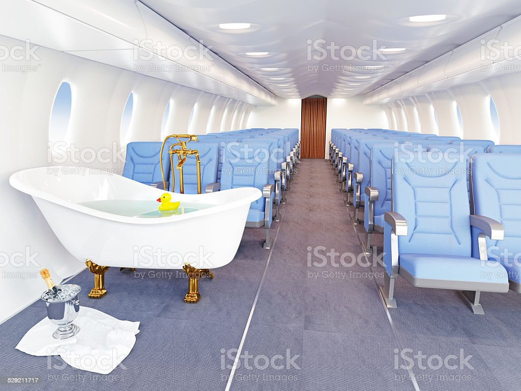 Luxury Bathtub In Airplane Stock Photo & More Pictures of Air ...