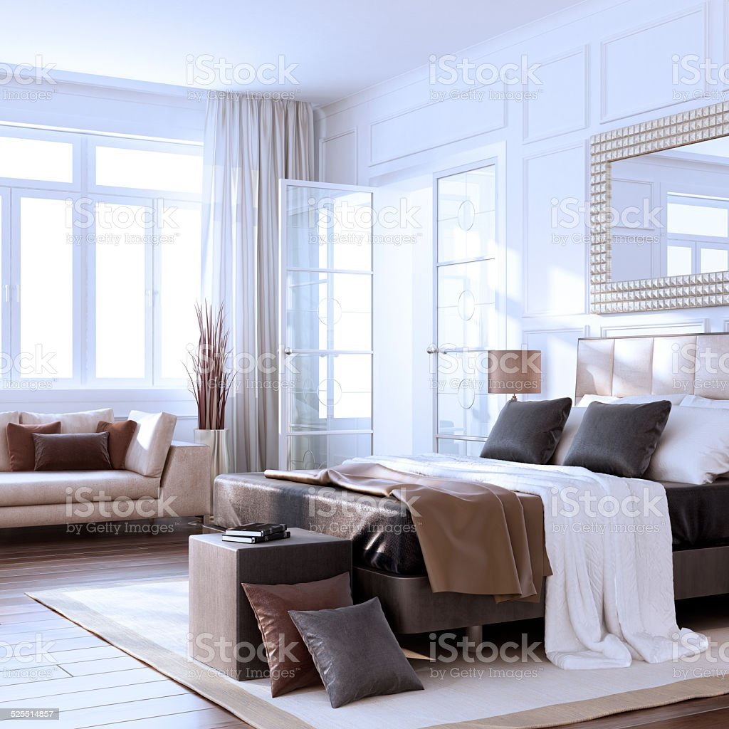 Luxus Bauhaus-Schlafzimmer Innenansicht – Foto