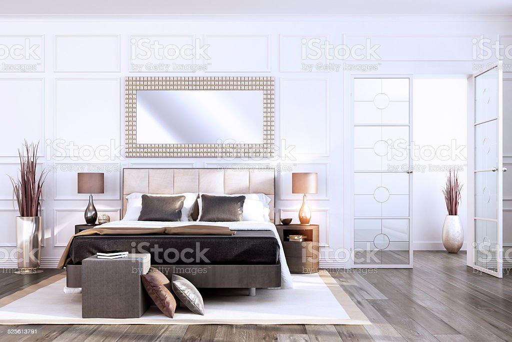 Luxury Bauhaus Bedroom Interior royalty free stock photo. Luxury Bauhaus Bedroom Interior stock photo 525613791   iStock