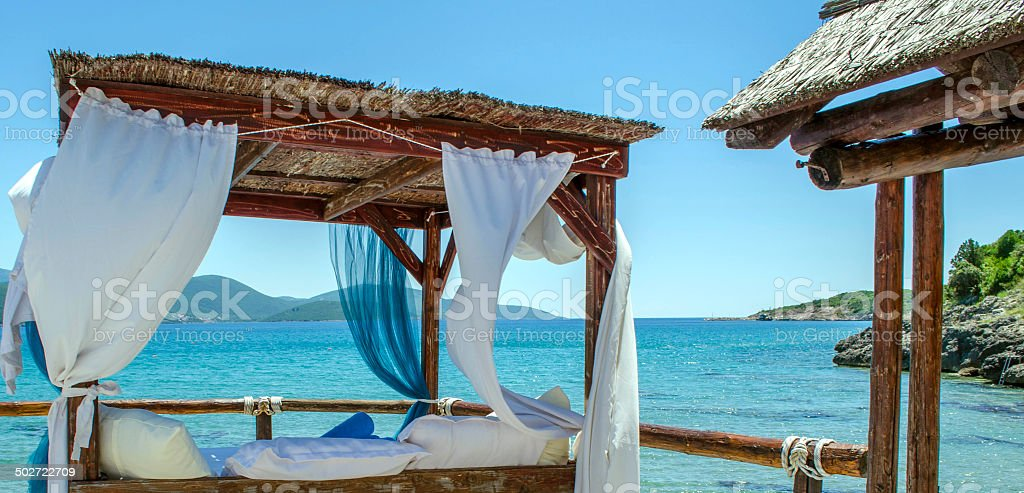 Luxury beach bed stock photo