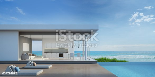 istock Luxury beach house with sea view pool in modern design 637794692